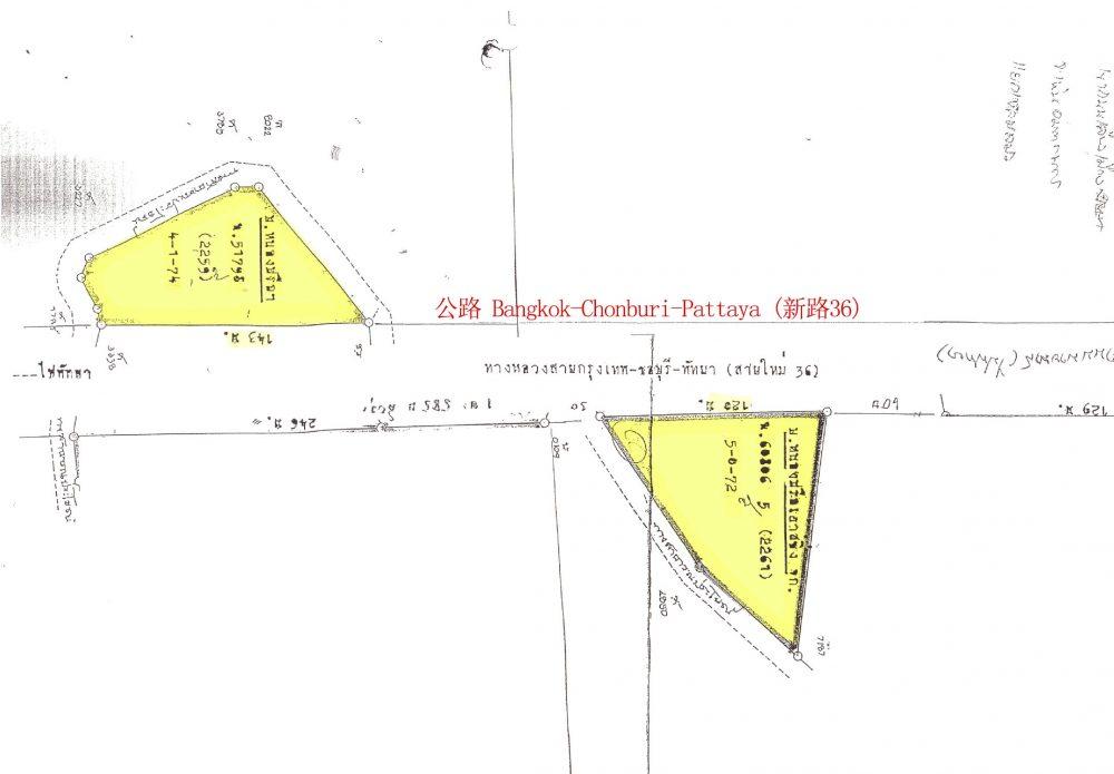 【5.18莱+4.435莱 两块土地出售】春武里府 Bang Lamung区 Takiantia街道 靠近绕行公路